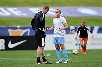 Piscataway, NJ - Saturday May 20, 2017: Christy Holly, Christie Pearce prior to a regular season National Women's Soccer League (NWSL) match between Sky Blue FC and the Houston Dash at Yurcak Field.  Sky Blue defeated Houston, 2-1.