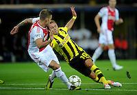FUSSBALL   CHAMPIONS LEAGUE   SAISON 2012/2013   GRUPPENPHASE   Borussia Dortmund - Ajax Amsterdam                            18.09.2012 Toby Alderwwireld (li, Ajax) gegen Mario Goetze (re, Borussia Dortmund)