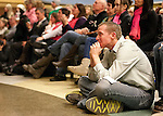 Robbie Parker, whose daughter Emilie was one of those murdered during the recent school shooting at Sandy Hook Elementary, sheds a tear during a slideshow honoring his daughter at a memorial service at Ben Lomond High School in Ogden,Thursday, Dec. 20, 2012
