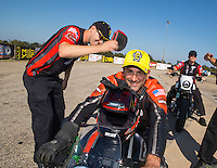 Oct 16, 2016; Ennis, TX, USA; NHRA pro stock motorcycle rider Eddie Krawiec with teammate Andrew Hines during the Fall Nationals at Texas Motorplex. Mandatory Credit: Mark J. Rebilas-USA TODAY Sports