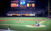 Ballparks: Anaheim Edison Field. Mo Vaughn being struck out, Aug. '99.  Photo '99.