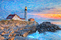 The Portland Head Light, built in 1791, protects mariners entering Casco Bay. The lighthouse is located in Fort Williams Park, Cape Elizabeth, Maine. The image was creatively modified to resemble a painting.