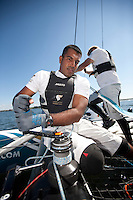 Extreme Sailing Series. Act 4. Boston. USA..Oman Air bowman Nasser Al Mashari.Credit: Lloyd Images