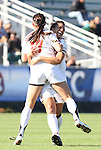07 November 2010: Maryland's Ashley Grove celebrates her goal with teammate Skyy Anderson (behind). The Wake Forest University Demon Deacons defeated the University of Maryland Terrapins 3-1 on penalty kicks after the game ended in a 1-1 tie after overtime at WakeMed Stadium in Cary, North Carolina in the ACC Women's Soccer Tournament championship game.