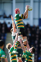Christian Day of Northampton Saints wins the ball at a lineout. Aviva Premiership match, between Northampton Saints and Leicester Tigers on April 16, 2016 at Franklin's Gardens in Northampton, England. Photo by: Patrick Khachfe / JMP