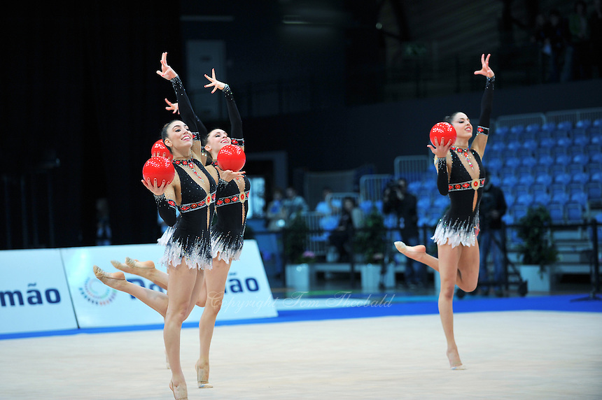 Senior group from Spain performs routine at 2011 World Cup at Portimao, Portugal on May 01, 2011.
