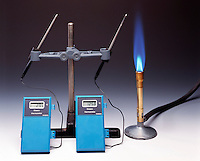 PROPANE FLAME &amp; THERMOMETERS SHOW HEAT TRANSFER<br /> Combustion Of Propane Is An Exothermic Reaction<br /> The combustion of propane is an exothermic reaction. Heat is given off by the system to the surroundings as indicated by the thermometers. The one closest to the flame is at higher temp than the one farther away.