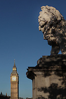 The Coade Lion, by William Frederick Woodington, 1806-93, Westminster Bridge, Big Ben, 1858, clock tower of Palace of Westminster or Houses of Parliament, London, UK, 1840-60, by Sir Charles Barry and Augustus Pugin, in the background. Picture by Manuel Cohen
