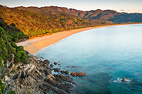 Sunrise on Totaranui beach on Abel Tasman Coast Track, Abel Tasman National Park, Nelson Region, South Island, New Zealand