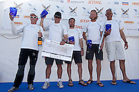 Jesper Radiach and his Radich Racing Team after finishing second at Match Race Germany 2010. World Match Racing Tour. Langenargen, Germany. 24 May 2010. Photo: Gareth Cooke/Subzero Images/WMRT