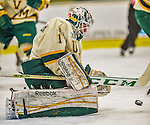 17 December 2013:  University of Vermont Catamount Goaltender Mike Santaguida, a Freshman from Mississauga, Ontario, makes a first prior save against the Northeastern University Huskies at Gutterson Fieldhouse in Burlington, Vermont. The Huskies shut out the Catamounts 3-0 to end UVM's 5 game winning streak. Mandatory Credit: Ed Wolfstein Photo *** RAW (NEF) Image File Available ***
