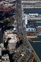 aerial photograph the Embarcadero during Superbowl 50, San Francisco, California