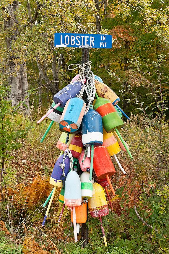 Lobster buoys, Owls Head, Maine, USA.