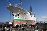 OMAGARIHAMA, JAPAN - DECEMBER 5: A ship stranded on the shore next to a wiped out residential area on December 5, 2011, in the port of Omagarihama, Japan. The small town was almost wiped off the map during the tsunami Northeastern Japan's coastline was struck by an earthquake measuring 9.0 on the Richter scale and a Tsunami on March 11, 2011 which destroyed villages and livelihoods for hundreds of thousands of people. Almost 16,000 dead, thousands missing, more than 700,000 properties destroyed and an estimated 387,000 survivors lost their homes. Its estimated that it will take more than five years to rebuild. The cost is estimated to 309 billion U.S. dollars, the world's most expensive natural disaster. Many children suffered especially with school destroyed, education interrupted and the loss of family members took a heavy toll. (Photo by Per-Anders Pettersson)