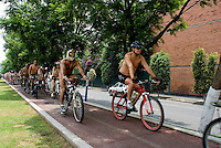 Mexico City, on Saturday, June 9, 2007. An estimated 100 people participated in this protest designed to force cardrivers to be more concietious of vulnerable bike riders.