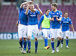 Hearts v St Johnstone&hellip;19.03.16  Tynecastle, Edinburgh<br />Steven Anderson making a record breaking 362 appearances for saints celebrates at full time with Brian Easton and David Wotherspoon<br />Picture by Graeme Hart.<br />Copyright Perthshire Picture Agency<br />Tel: 01738 623350  Mobile: 07990 594431