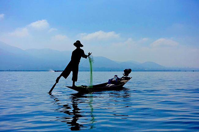 Traditional fisherman on Inle Lake, Burma