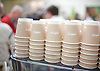 The London Coffee Festival <br /> Truman Brewery, Brick Lane, London, Great Britain <br /> 6th April 2017 <br /> <br /> General atmosphere on the opening day of the London Coffee Festival <br /> Lavazza coffee cups <br /> <br /> <br /> Photograph by Elliott Franks <br /> Image licensed to Elliott Franks Photography Services