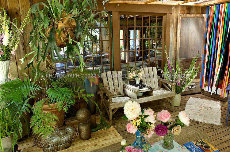 6/12/2007--Langley, WA, USA..Johanna Nitzke Marquis's garden on Whidbey Island, Washington. Here the terrace next to the main house...Photograph ©2007 Stuart Isett.All rights reserved