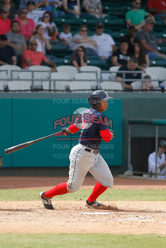 Salem Red Sox catcher Jhon Nunez (2) at bat during a game against the Down East Wood Ducks  at Grainger Stadium on April 16, 2017 in Kinston, North Carolina. Salem defeated Down East 9-2. (Robert Gurganus/Four Seam Images)