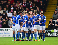 Macclesfield Town's Mitch Hancox celebrates scoring the opening goal <br /> <br /> Photographer Andrew Vaughan/CameraSport<br /> <br /> Vanarama National League - Lincoln City v Macclesfield Town - Saturday 22nd April 2017 - Sincil Bank - Lincoln<br /> <br /> World Copyright &copy; 2017 CameraSport. All rights reserved. 43 Linden Ave. Countesthorpe. Leicester. England. LE8 5PG - Tel: +44 (0) 116 277 4147 - admin@camerasport.com - www.camerasport.com