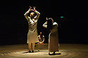 Akram Khan Company debuts at the Roundhouse with UNTIL THE LIONS, which is based on the Mahabharata. Dancers are: Akram Khan, Ching-Ying Chien (long hair), and Christine Joy Ritter (hair in bun).