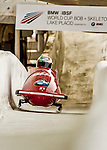 8 January 2016: Simone Bertazzo, piloting his 2-man bobsled for Italy, enters the Chicane straightaway on his first run, ending the day with a combined 2-run time of 1:52.41 and earning a 17th place finish at the BMW IBSF World Cup Championships at the Olympic Sports Track in Lake Placid, New York, USA. Mandatory Credit: Ed Wolfstein Photo *** RAW (NEF) Image File Available ***