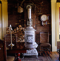 The Glenwood oak brand stove in this dining room is dated 1886 and was found in an old barn