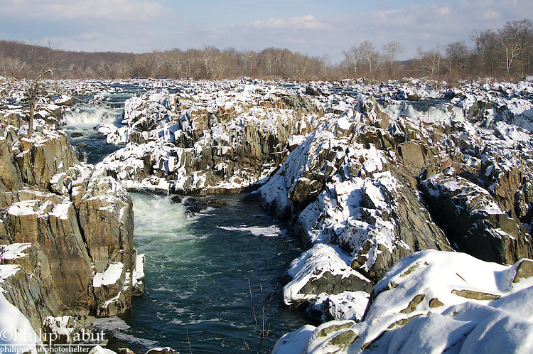 Snow accents the Great Falls of the Potomac River.