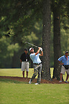 Golfer Vance Veazey hits a shot on the 2nd hole at the PGA FedEx St. Jude Classic at TPC Southwind in Memphis, Tenn. on Thursday, June 9, 2011.