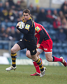Nick Robinson of London Wasps RFC makes a break through a rare gap in the Saracens defence - London Wasps RFC vs Saracens RFC - Aviva Premiership Rugby at Adams Park, Wycombe Wanderers FC - 12/02/12 - MANDATORY CREDIT: Ray Lawrence/TGSPHOTO - Self billing applies where appropriate - 0845 094 6026 - contact@tgsphoto.co.uk - NO UNPAID USE.