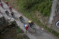 Team Trek-Segafredo  meets Team LottoNL-Jumbo at the Pont Gibus during their 2017 Paris-Roubaix recon, 3 days prior to the event.