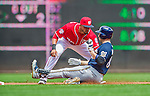 23 August 2015: Washington Nationals shortstop Ian Desmond gets Ryan Braun out at second on a Bryce Harper throw in the first inning against the Milwaukee Brewers at Nationals Park in Washington, DC. The Nationals defeated the Brewers 9-5 in the third game of their 3-game weekend series. Mandatory Credit: Ed Wolfstein Photo *** RAW (NEF) Image File Available ***