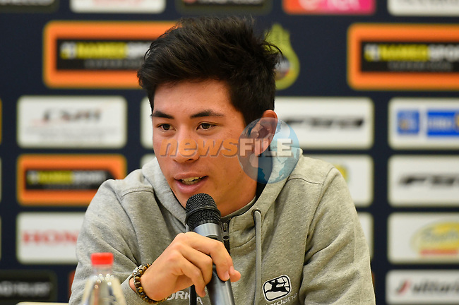 Caleb Ewan (AUS) Orica-Scott at the top riders press conference on the eve of the race of the two seas, 52nd Tirreno-Adriatico by NamedSport running from the 8th to 14th March, Italy. 7th March 2017.<br /> Picture: La Presse/Fabio Ferrari | Cyclefile<br /> <br /> <br /> All photos usage must carry mandatory copyright credit (&copy; Cyclefile | La Presse)