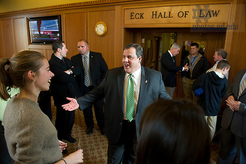 "November 18, 2011; New Jersey Gov. Chris Christie chats with students during a meet-and-greet in the Eck Commons. Christie delivered the keynote address during a daylong symposium, titled ""Educational Innovation and the Law"" in the Patrick F. McCartan Courtroom at the Notre Dame Law School. Photo by Barbara Johnston/University of Notre Dame."