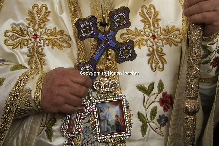 Israel, Kyriakos the Metropolitan of Nazareth on Annunciation Day at the Greek Orthodox Church of the Annunciation, the Church of St. Gabriel