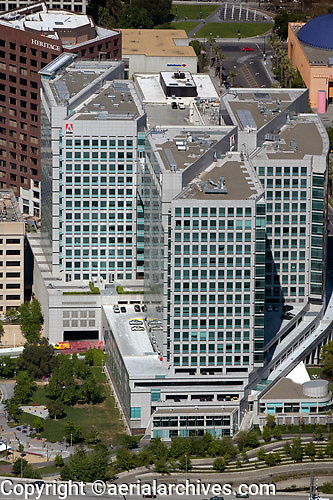 aerial photograph Adobe Systems corporate headquarters San Jose, Santa Clara county, California