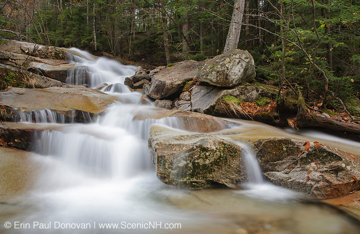 Walker Cascades, along Walker Brook, in Franconia Notch State Park of the New Hampshire White Mountains during the autumn months.