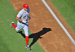 24 September 2012: Washington Nationals third baseman Ryan Zimmerman rounds the bases after hitting his 24th home run of the season, a three run blast in the 4th inning making the score 7-1 against the Milwaukee Brewers at Nationals Park in Washington, DC. The Nationals defeated the Brewers 12-2 in the final game of their 4-game series, splitting the series at two. Mandatory Credit: Ed Wolfstein Photo