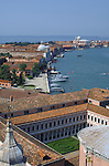 View from tower of San Giorgio Maggiore,showing courtyard gardens and surrounding buildings. May 2007