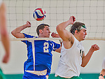 22 February 2015: Yeshiva University Maccabee Setter Jonathan Goldstein, a Junior from Los Angeles, CA, in action against the Sage College Gators at the Kahl Gymnasium, in Albany, NY. The Maccabees fell to the Gators 3-0 in NCAA Division III Men's Volleyball Skyline play. Mandatory Credit: Ed Wolfstein Photo *** RAW (NEF) Image File Available ***