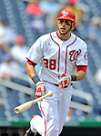 8 September 2011: Washington Nationals outfielder Michael Morse in action against the Los Angeles Dodgers at Nationals Park in Washington, DC. The Dodgers defeated the Nationals 7-4 to take the third game of their 4-game series. Mandatory Credit: Ed Wolfstein Photo