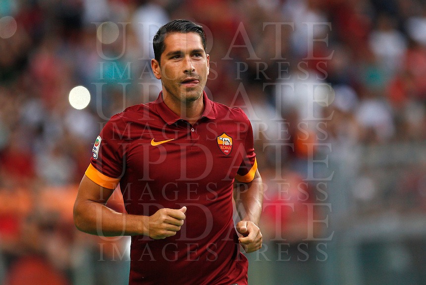 Calcio, amichevole Roma vs Fenerbahce. Roma, stadio Olimpico, 19 agosto 2014.<br /> Roma forward Marco Borriello arrives for the team's presentation, prior to the friendly match between AS Roma and Fenerbahce at Rome's Olympic stadium, 19 August 2014.<br /> UPDATE IMAGES PRESS/Riccardo De Luca