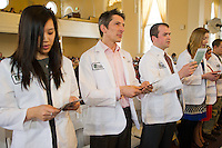 White Coat Ceremony, class of 2015. Hope Yu, from left, Peter Wingfield.