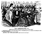 """Evil Communications,"" &C. Scene - Mrs Lyon Hunter's drawing-room, during a lecture on ""Women's Rights."" Modest youth (in a whisper, to young lady looking for a seat). ""Er - excuse me, but do you believe in the equality of the sexes, Miss Wilhelmina?"" Young lady. ""Most certainly I do, Mr Jones."" Modest youth. ""Haw! In that case of course I needn't give you up my chair!"""