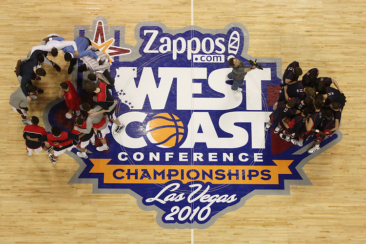 LAS VEGAS, NV - MARCH 8:  The team overhead during Saint Mary's 81-62 win over the Gonzaga Bulldogs in the championship game of the 2010 Zappos West Coast Conference Basketball Championships on March 8, 2010 at Orleans Arena in Las Vegas Nevada.
