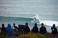 """WINKIPOP, Victoria/Australia (Wednesday, April 7, 2010) - The Rip Curl Pro Bells Beach, Event No. 2 of 10 on the 2010 ASP World Tour, relocated to Winkipop for Round 3 and the opening four heats of Round 4 today where perennial threats went ballistic in the rippable three-to-four-foot (1 metre) reeling righthanders..Taj Burrow (AUS), 31, current ASP World No. 1, has been in sensational form lately with nearly a flawless competitive record over the past five months, and showcased exactly why throughout two heats today. In a hard-fought battle against explosive rookie Matt Wilkinson (AUS), 21, Burrow surfed flawlessly, netting a 17.04 out of a possible 20. Burrow then backed up against three times world surfing champion Andy Irons (HAW) in round four with another sensational heat  posting the highest score of the day, a 17.77 out of a possible 20..Jordy Smith (ZAF), 22, current ASP World No. 2, posted an impressive win over tour rookie and good friend, Owen Wright (AUS), 19, in Round 3 before putting on a progressive surfing clinic in an emphatic win over Roy Powers (HAW), 29, in Round 4..Smith secured the highest single-wave score of the event against Powers, lacerating a running righthander and punting multiple aerials before executing a """"Superman"""" air to finish - the score dropped to the tune of a near-perfect 9.80 out of a possible 10....Fanning, a former winner at the Rip Curl Pro Bells Beach (2001), showed no mercy against wildcard Gabriel Medina (BRA), 16, in their Round 3 clash. The reigning champ dominated with a blend of his patented forehand gaffs as well as an injected dose of aerial creativity, netting an 17.20 out of a possible 20, to advance through to Round 4..Fanning went on to survive a tight heat at the end of the day against European battler Tiago Pires (PRT), 30, in Round 4..Kelly Slater (USA), 38, former nine-time ASP World Champion, survived a closely-contested Round 3 heat against rookie phenom Dusty Payne (HAW), 21, to advance through to Round"""