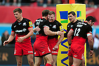 Chris Ashton of Saracens congratulates team-mate Chris Wyles on his second half try. Aviva Premiership semi final, between Saracens and Leicester Tigers on May 21, 2016 at Allianz Park in London, England. Photo by: Patrick Khachfe / JMP