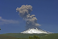 Volcano LLaima during an eruption, near Temuco, South of Chile