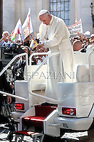 Pope Francis during his weekly general audience in St. Peter square at the Vatican, Wednesday. 18 September  2013